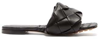 Bottega Veneta Lido Intrecciato Leather Slides - Black
