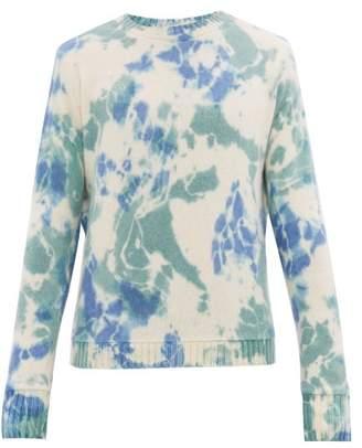The Elder Statesman Tie Dyed Crew Neck Cashmere Sweater - Mens - Blue