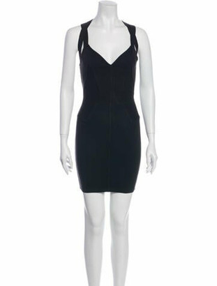 Alaia V-Neck Mini Dress Black