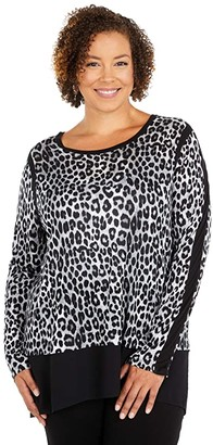 MICHAEL Michael Kors Size Mega Cheetah Woven Top (Gunmetal 2) Women's Clothing