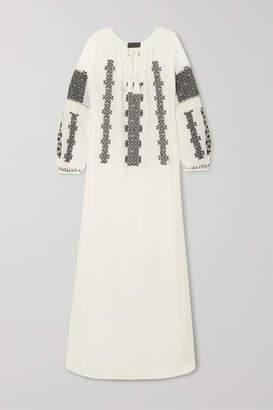 Nili Lotan Valenza Embroidered Cotton-voile Maxi Dress - White