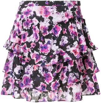 IRO Sprink ruffled floral-print skirt