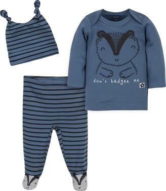 Grow by Gerber Baby Boys Organic 3-Piece Shirt Footed Pant and Cap Set