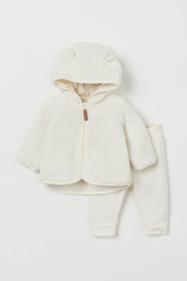 H&M 2-piece Fleece Set - White