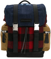 DSQUARED2 military buckle backpack - men - Cotton/Suede/Wool - One Size