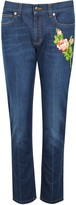 Gucci Embroidered Cropped Slim-fit Jeans