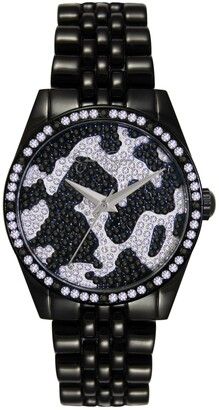 Jessica Simpson Women's Camo Pave Crystal Black Tone Bracelet Watch 37mm