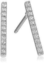 Jules Smith Designs Micro Pave Bar Silver Stud Earrings