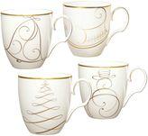 Noritake Golden Wave Snowman/Bell/Tree/Sleigh Holiday Mugs (Set of 4)