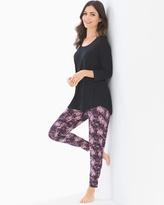 Soma Intimates Relaxed Fit Pajama Set Petals Mini Black