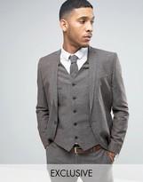 Noak Skinny Suit Jacket In Linen Nepp
