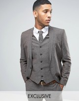 Noak Skinny Wedding Suit Jacket In Linen Nepp
