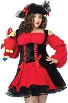 Leg Avenue Women's Plus Size Vixen Pirate Wench Costume, Black/Red, X-Large/XX-Large