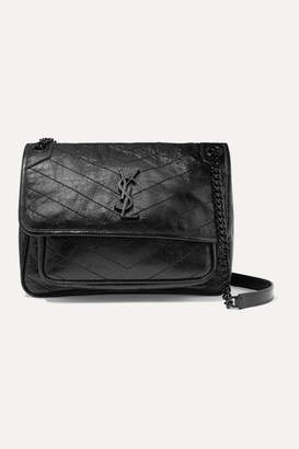 Saint Laurent Niki Medium Quilted Crinkled Glossed-leather Shoulder Bag - Black
