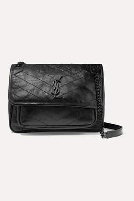 Saint Laurent Niki Medium Quilted Crinkled Glossed-leather Shoulder Bag - Black