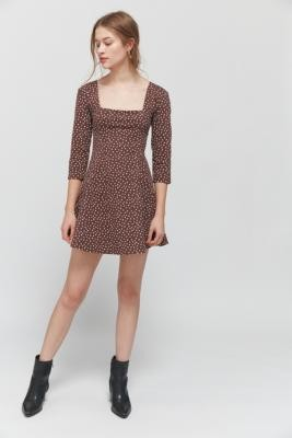 Urban Outfitters Stella Polka Dot Tie-Back Mini Dress - Brown S at