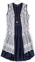 Knitworks Girls 7-16 Crochet Lace Vest & Tiered Dress Set with Necklace