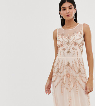 Amelia Rose Tall embellished sleeveless maxi dress in soft peach