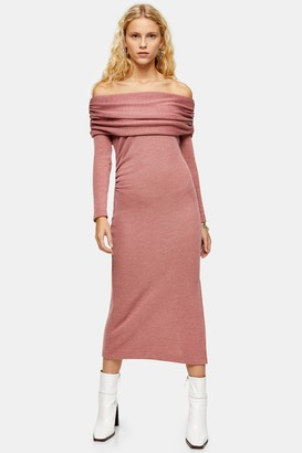 Topshop Womens Blush Cut And Sew Bardot Midi Dress - Blush