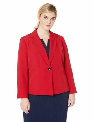 Kasper Women's Petite 1 Button Notch Collar Stretch Crepe Jacket