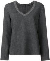 Steffen Schraut stripe detail collar blouse - women - Polyester/Spandex/Elastane/Viscose - 36