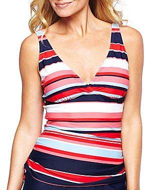 Liz Claiborne Striped Tankini Swim Top or Solid Skirt