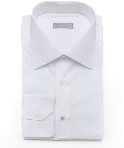 Stefano Ricci Basic Barrel-Cuff Dress Shirt, White