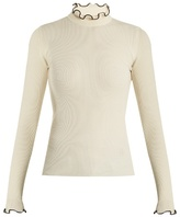 MSGM Frilled-neck wool-blend sweater