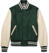 GoldenBear Golden Bear - Virgin Wool-blend And Leather Bomber Jacket - Forest green