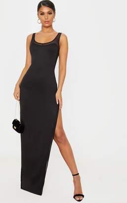 PrettyLittleThing White Sleeveless Mesh Insert Split Detail Maxi Dress