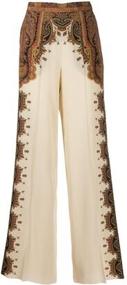 Etro Paisley Wide-Leg Silk Trousers