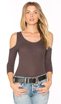 Michael Lauren Renzo Open Shoulder Tee in Charcoal. - size L (also in M,S,XS)