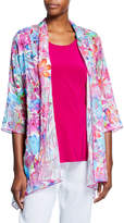 Caroline Rose Petite Floral Frenzy Burnout Side-Fall Open-Front Cardigan