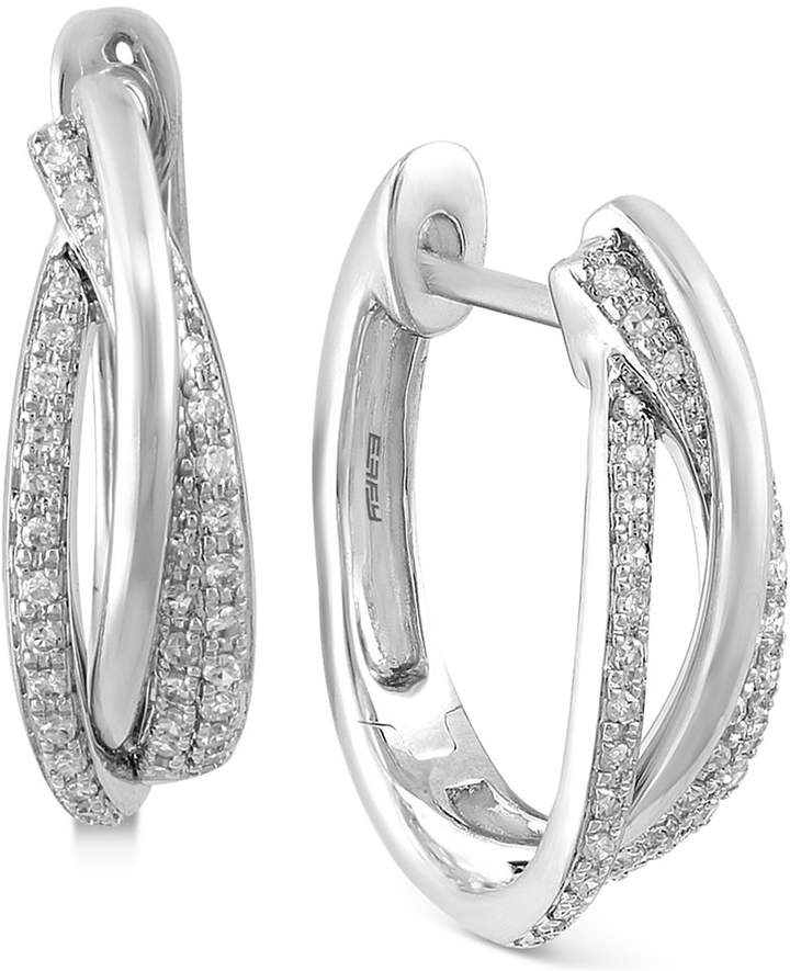 Effy Pave Classica by Diamond Hoop Earrings (3/8 ct. t.w.) in 14k White, Yellow or Rose Gold