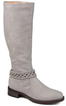 Brinley Co. Womens Wide Calf Braided Strap Riding Boot