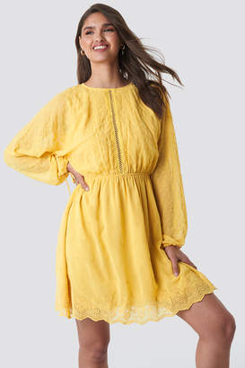 NA-KD Lace-Up Back Mini Dress Beige