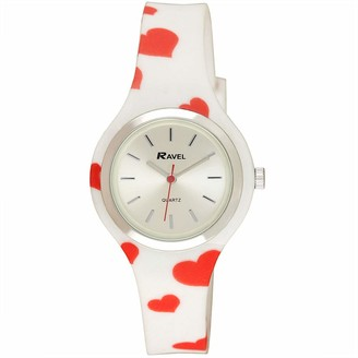 Ravel Women's Heart Quartz Watch with Patterned Silicone Strap - White/Red Hearts