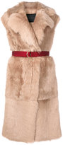Blancha - belted fur gilet - women - Leather/Sheep Skin/Shearling - 38
