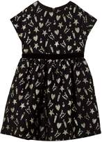 MSGM Black Lurex Heart and Dynamite Dress