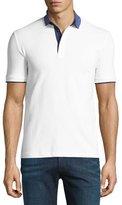 Armani Collezioni Chambray-Collar Polo Shirt, White