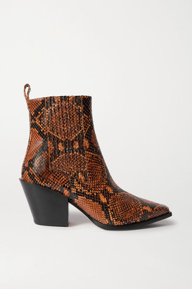 AEYDĒ Kate Snake-effect Leather Ankle Boots - Snake print