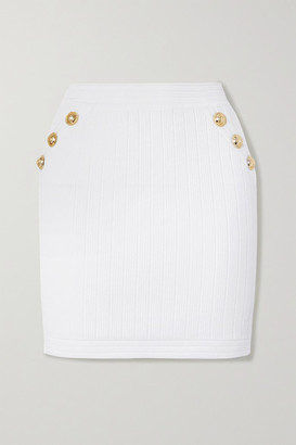 Balmain Button-embellished Ribbed Stretch-knit Mini Skirt - White