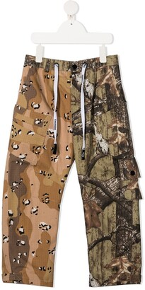 DUOltd Mixed-Print Cargo Trousers
