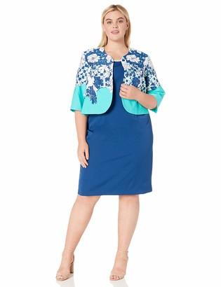 Maya Brooke Women's Plus Size Floral Contrasted Jacket Dress
