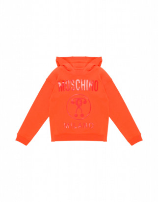 Moschino Double Question Mark Sweatshirt Man Orange Size 4a It - (4y Us)