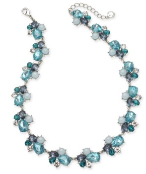 """Charter Club Silver-Tone Crystal, Stone & Imitation Pearl Cluster Collar Necklace, 17"""" + 2"""" extender, Created for Macy's"""