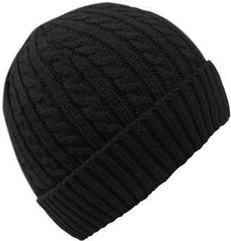 Fashionable Peach Couture Unisex Thick Warm Twisted Cable Knit Winter Beanie Cap Hat (Black)