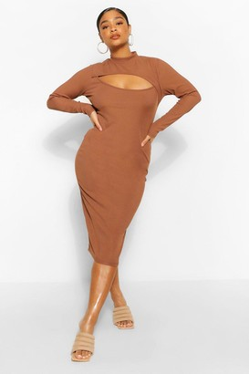 boohoo Plus Rib Cut Out Midi Dress