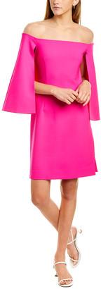 Oscar de la Renta Cape Wool-Blend Sheath Dress