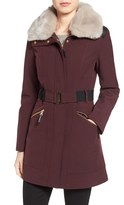 Via Spiga Women's Detachable Faux Fur Collar Soft Shell Coat